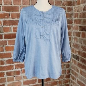 Amour Vert Chambray Top with 3/4 sleeves XS